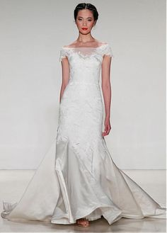 2083d87a4723 Buy discount Elegant Tulle  amp  Satin Off-the-Shoulder Neckline Mermaid Wedding  Dresses
