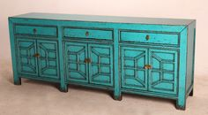 Turquoise sideboard media console with drawers MB028T