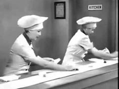 There were a lot of co-curator giggles when we watched this — his first glance into the world that is I Love Lucy.    I had forgotten that it was set up by an antiquated husbands vs wives plot, but at least this 1952 scene is a classic. Full episode (with commercials) here — though we actually watched this one instead. Another classic… which one isn't?