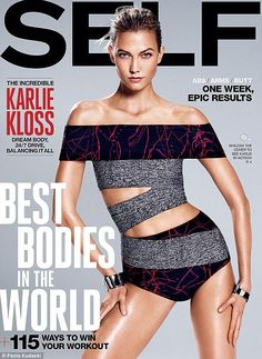 In amazing shape: Karlie Kloss looks incredible on the cover of the August issue of Self magazine