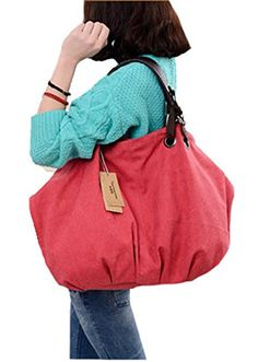 XMLiZhiGu Women's Shoulder Canvas Bag Fashion Large Capacity Crossbody Bag Girls Casual Tote Handbags Red #monogrammed #kavu #rope #bag