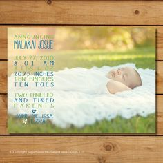 Baby Boy Birth Announcement Photo Card  by sugarhouseink on Etsy, $15.00