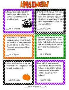 Halloween writing contract -six activities with reproducible activities