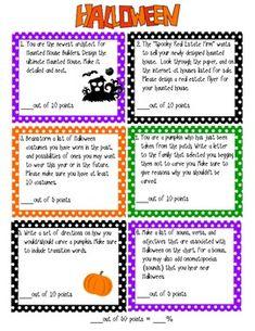 Halloween writing contract -six activities with reproducible activities