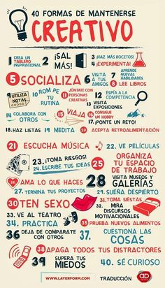 40 formas de mantenerse creativo. Infografía en español. #CommunityManager Creative Posters, Framed Prints, Art Prints, Notebook, Magazine, Writer, Infographic, Bullet Journal, Forgiveness