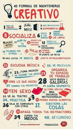 40 formas de mantenerse creativo. Infografía en español. #CommunityManager