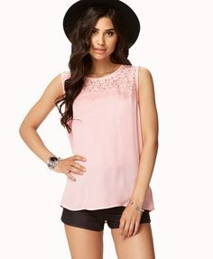 Eyelash Lace Georgette Top #LOVE <3 cute as is, with a waist belt, or tucked into a skirt