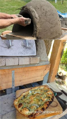 Great DIY wood fired outdoor pizza oven with simple low cost materials! Step by step cob / earth oven building tutorial, a free ebook, & helpful resources! Build A Pizza Oven, Pizza Oven Kits, Diy Pizza Oven, Pizza Oven Outdoor, Outdoor Cooking, Outdoor Kitchens, Pizza Ovens, Outdoor Rooms, Outdoor Living