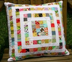 Stash Buster Quilted Pillow by bulabean on flickr.  Block tutorial by Little Miss Shabby - http://littlemissshabby.blogspot.com.au/2010/04/stashbuster-block-2-tutorial.html