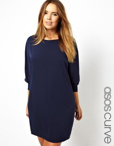 ASOS CURVE - Shift Dress With Batwing Sleeve