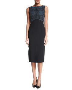 B353D Jason Wu Sleeveless Two-Tone Sheath Dress, Black