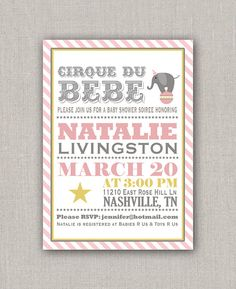 Baby Shower Invitation  Pink Circus by announcingyou on Etsy