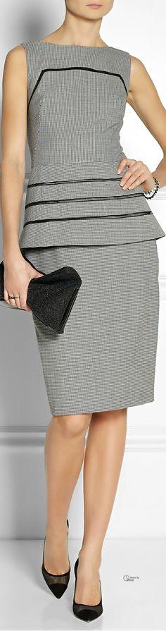 Lela Rose ● Gingham wool peplum dress    BL/CF