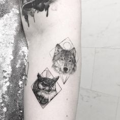 Animal collective fresh small owl & old wolf tattoo ideas on arm by @evantattoo