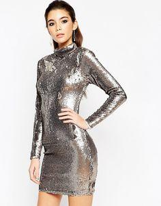 Image 1 ofASOS NIGHT Embellished Polo Sequin Mini Dress