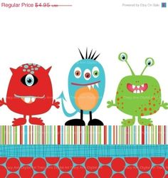 SALE 40 OFF Monster trio clip art and papers by TracyAnnDigitalArt, $2.97