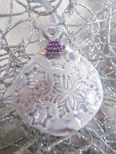 Purple Christmas Ornament Wire Wrapped and by CenteredClayWorks, $10.00