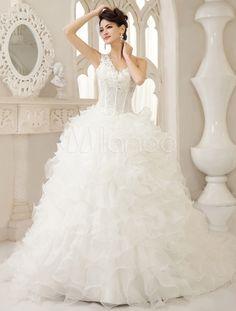 White Ball Gown One-Shoulder Ruffles Chapel Train Bridal Wedding Dress - Milanoo.com