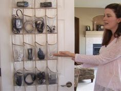 Keep all those cords and cables for phones, ipods etc tidy and organized in a clear shoe organizer.....  Another great double duty tip from Rachael Ray Show