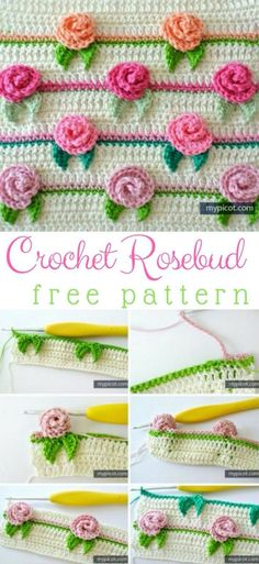 Rosebud Stitch Crochet Pattern Stitch Of The Week & Crochet Flowers Rosebud Stitch Crochet Pattern Stitch Of The Week & Crochet Flowers Picot Crochet, Crochet Puff Flower, Stitch Crochet, Crochet Flower Patterns, Crochet Diagram, Crochet Stitches Patterns, Love Crochet, Crochet Motif, Crochet Flowers