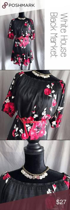 "WHBM Black Red Floral Boho Babydoll Swing Dress M Beautiful black dress with red and white Floral design.  Neckline can be worn as shown or off the shoulder.  Red belt not included, but the dress does have belt hooks on the sides. Ruffle bottom, 3/4 sleeves.  Print has a few tiny runs as shown in the photo but they aren't noticeable unless you're looking for it.  Size Medium.  Length is 34"" from shoulder to hem.  Can be worn with or without belt.  B5 White House Black Market Dresses"