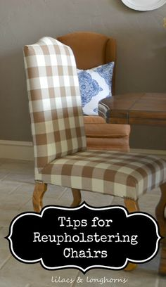 Want to save money by reupholstering a chair yourself?  Here are some great tips to get you started!
