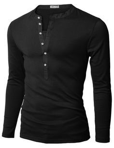 Doublju Mens Henley T-shirts with Long Sleeve BLACK (US-XS)