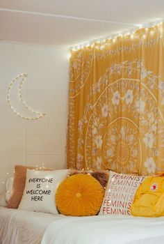 Here are the Yellow Bedroom Decoration And Design Ideas. This post about Yellow Bedroom Decoration And Design Ideas was posted under the Bedroom category by our team at September 2019 at am. Hope you enjoy it and don't . Yellow Bedroom Paint, Yellow Room Decor, Diy Room Decor, Yellow Bedroom Curtains, Yellow Bedroom Decorations, Light Yellow Bedrooms, Dorm Room Decorations, Floral Bedroom, Cute Bedroom Decor