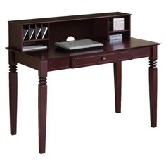 Sleek and elegant, this solid wood desk features a hutch for all your organizational needs. The quality construction displays a glossy walnut finish that makes a stylish statement in any office. Its compact form includes a keyboard tray to maximize space and functionality.