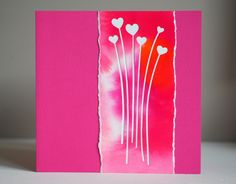Neutral card, ecoline background, 2016, Impression obsession heart stems die, Asjechris