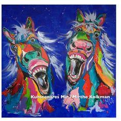 Schilderij lachende paarden Laughing horses 100x100cm veelzijdig Kunstenares Mir /Mirthe Kolkman Dutch artist www.kunstenaresmir.nl