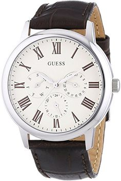 Men's Wrist Watches - GUESS W70016G2Mens MultiFunction Dress SportLeather StrapStainless Steel CaseWR >>> Click image to review more details. (This is an Amazon affiliate link)