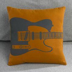 gray and orange guitar throw pillow $19
