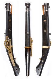 短筒. Japanese matchlock pistol, length:38.2cm, barrel length:22.1cm,  diameter:1.3cm.