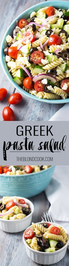 Greek Pasta Salad full of fresh vegetables and pasta with an easy homemade vinaigrette. Greek Salad Pasta, Summer Pasta Salad, Easy Pasta Salad, Pasta Salad Recipes, Soup And Salad, Vegetable Pasta Salads, Pasta With Vegetables, Potluck Side Dishes, Sandwiches