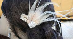 Bridal fascinator   Art Deco Champagne Feather