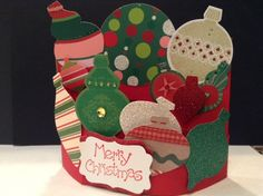 Bendi Fold Card - Ornament's Galore by llm2700 - Cards and Paper Crafts at Splitcoaststampers - Stampin' Up Ornament Framelits. Basic Bendi tutorial here - http://www.splitcoaststampers.com/resources/tutorials/bendifold/