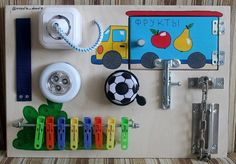 "Busy Board ""Micro truck"", Activity Board, Sensory Board, Montessori educational…"