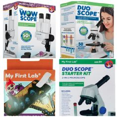 It is a microscope geared towards kids ages 9 and up that allows them use a more grown-up microscopewithout the huge cost.