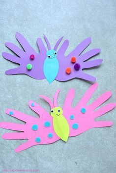 Butterfly Handprint Cards - these adorable cards fold over and you can write a message on the inside. These are perfect for Mother's Day or Father's Day cards. Handprint crafts Butterfly crafts Handprint card Butterfly art via Paper Crafts For Kids, Easter Crafts, Projects For Kids, Fun Crafts, Arts And Crafts, Card Crafts, Craft Projects, Simple Paper Crafts, Simple Crafts For Kids