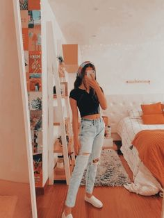 Casual School Outfits, Teenage Outfits, Cute Comfy Outfits, Teen Fashion Outfits, Cute Summer Outfits, Retro Outfits, Look Fashion, Stylish Outfits, Fashion Teens