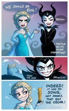 Elsa's joined forces with Maleficent? This is either an easy section of some villain test- or Elsa is very determined to become better than one of the best Nemesises in the Disney Princess Franchise. The latter option is more probable. Disney Pixar, Disney Fan Art, Disney And Dreamworks, Disney Animation, Disney Magic, Disney Movies, Disney Characters, Disney Stuff, Disney Villains Funny