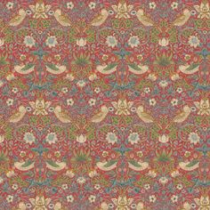 Strawberry Thief by Morris - Crimson - Wallpaper : Wallpaper Direct Morris Wallpapers, Home Office Design, Room Themes, Wall Wallpaper, True Colors, Icon Design, Fabric Design, Bohemian Rug, Strawberry