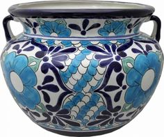 Mexican Talavera Large Round Planter - Polanco 3
