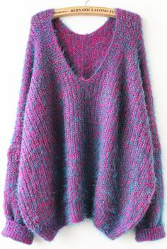 Purple Long Sleeve V Neck Oversize Mohair Sweater - Sheinside.com
