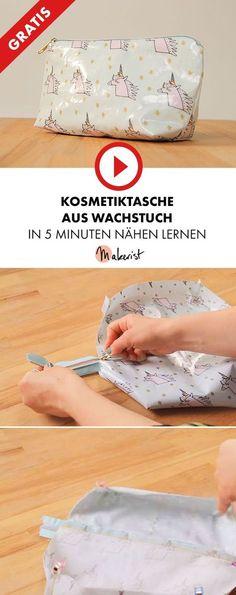 Kosmetiktasche aus Wachstuch mit Reißverschluss nähen - Makerist auf Youtube #nähenmitmakerist #nähen #nähanleitung #schnittmuster #schnitt #pdfschnitt #pdfpattern #nähenmachtglücklich #nähenistwiezaubernkönnen #nähenisttoll #sewing #sew #sewingproject #sewingpattern #diy #diyproject #kosmetiktasche #washbag #reißverschluss #wachstuch #baumwolle #einhorn #unicorn