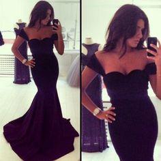 Cheap Sexy V Neck Spaghetti Strap Sleeveless Black Cotton Blend Mermaid Ankle Length Dress