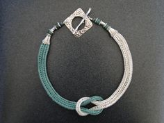 Love Knot, Viking Knit Weave Seafoam Silver  Wire Necklace