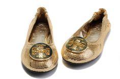 Tory Burch Reva Gold Snakeprint Ballet Flat  Fonte: toryburchshoesgo.com  #tory burch #tory burch ballerina flats #women shoes #fashion