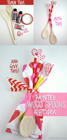 Painted Wood Spoons Homemade Gift Idea for Mom or teacher for Valentine's Day using Americana Multi-Surface and @sugru #decoartprojects #happy30thdecoart #teachergift